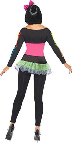 SMIFFYS Smiffy's 21316L - Neon Scheletro Costume Top con Gonna e Allegate Legging, Nero, L