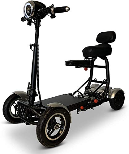 Fold and Travel Lightweight Mobility Scooters for Adults Foldable Lightweight Powered Scooter 4 Wheel Mobility Scooter Carrier Power Wheel Chairs Mobility Chair Scooter de Movilidad (Silver)
