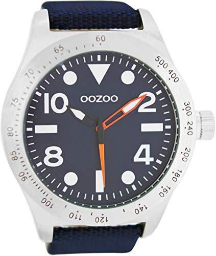 Oozoo Herrenuhr im Military Look mit Lederband 50 MM Dunkelblau/Dunkelblau C6752