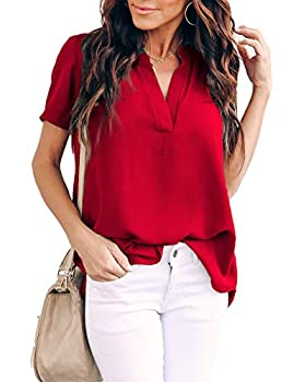 Allimy Women Summer Casual Short Sleeve V Neck Chiffon Blouses Fashion 2019 Tops XL Red