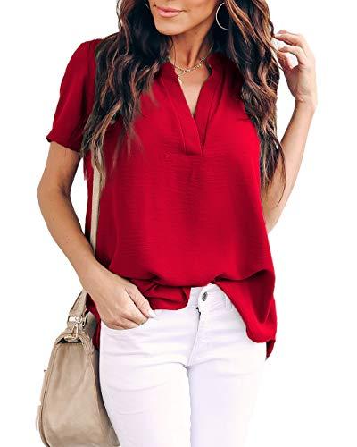 Allimy Women Summer Clothes Short Sleeve Chiffon Blouses V Neck Tunics Tops Medium Red