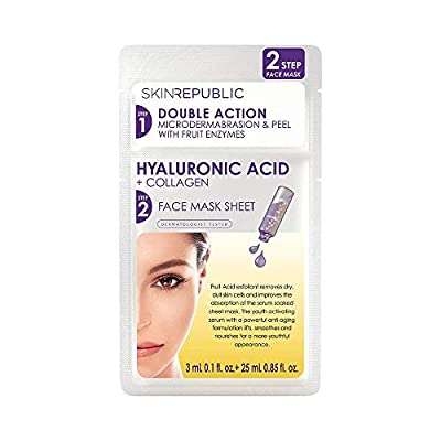 SKIN REPUBLIC Republic 28 ml Two Step Sheet Mask Hyaluronic Acid and Collagen, 0.035003 kg COSSKI047 from Skin Republic Skin Laboratory