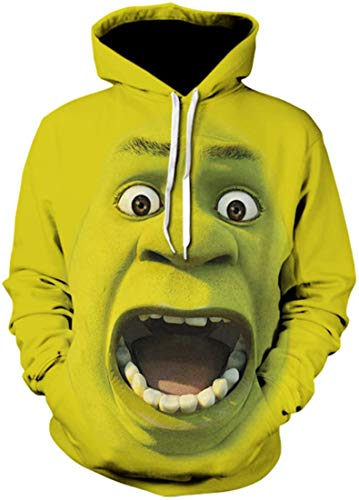 EUDOLAH Men's Hoodie Animal Pattern with 3D Print Design Halloween Costume Christmas Hoodie Long Sleeve(UK 6-8 (Tag S),Shrek)