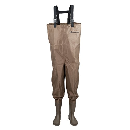 Hodgman MACKCBC08 Mackenzie Nylon and PVC Cleated Bootfoot Chest Fishing Waders, Size 8, Brown