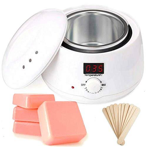 Calentador depilatoio Cera caliente 500ml kit de calentador de cera bote depilatoria Profesional con pantalla LED 4 cera Rosa+10 Espátulas (BLANCO)