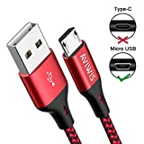 AVIWIS Câble Micro USB [2M Lot de 3] Chargeur Micro USB Charge Rapide Câble USB en Nylon Tressé Compatible pour Samsung S7 S6 Edge J3 J5 J7, Redmi Note 5 6 Pro, Wiko, Huawei, Kindle - Rouge