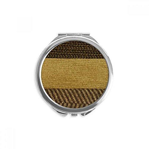 DIYthinker bar triple tissu de lin brun résumé miroir rond maquillage de poche à la main portable 2,6 pouces x 2,4 pouces x 0,3 pouce Multicolore