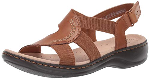 Clarks Women's Leisa Joy Sandal, tan Leather, 070 M US