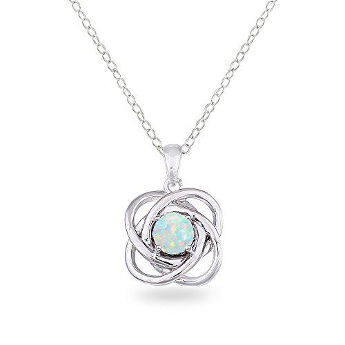 Sterling Silver Synthetic White Opal Polished Love Knot Pendant Necklace