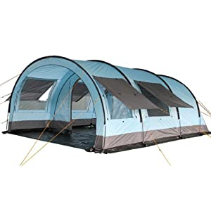 CampFeuer - XXL Tunnel Tent, 6 Person, Blue/Grey, 5000 mm