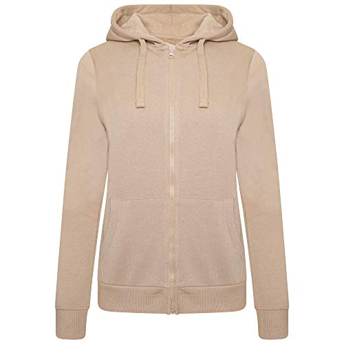 M17 Ladies Full Zip Hoody Casual Hooded Jacket Top Felpa con Cappuccio, Toffee Brown, L Donna