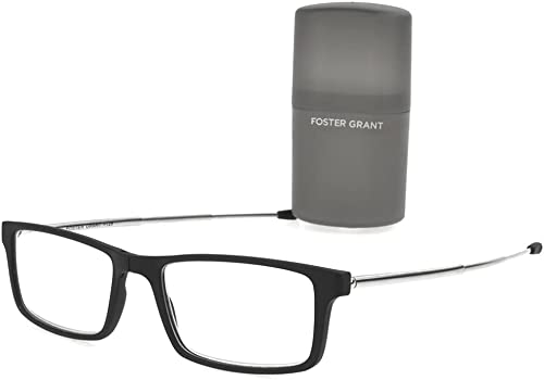 new arrival Foster Grant Gino Classic lowest Folding Foldable Bridge Rectangle Reading Glasses, Black outlet sale +1.50 outlet sale