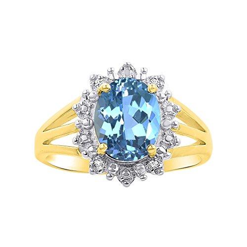 Princesa Diana inspirado Halo y topacio azul Anillo de Diamante en 14K oro amarillo