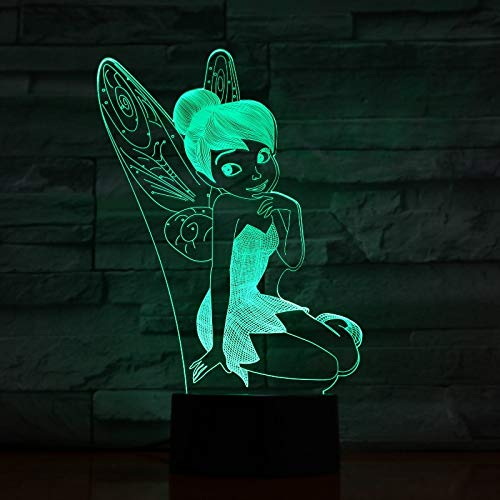 Lámpara de mesa 3D princesa dibujos animados Elsa película cuento de hadas belleza falda niña Anna decoración del hogar bebé Navidad niños regalo escritorio luz de noche