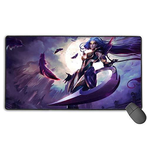 Alfombrilla de ratón extra extendida para League Legends Dark Valkyrie Diana, almohadillas de goma antideslizante con bordes cosidos, base de goma antideslizante de 40 cm x 75 cm.