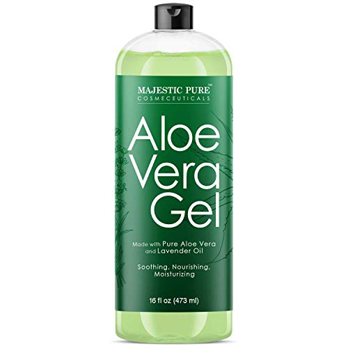 Majestic Pure Aloe Vera Gel for Face and Hair - with Lavender Essential Oil, Soothes, Moisturizes, & Nourishes Skin & Hair, Soothes Sunburn, Eczema, Small Cuts & Bites, 16 fl oz