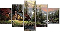 5つの装飾画、5つのキャンバスプリント、壁画家、家の装飾、山、川、木、モジュラー写真、森の風景画、高解像度の油絵(フレーム付き)