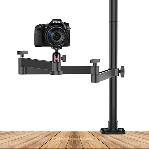 ULANZI Camera Desk Mount Stand with Flexible Arm, Height Adjustable, 360°Arm and Ballhead w 1/4' Screw, Aluminum Desk Mounting Stand for Ring Light/DSLR Camera/Webcam/Panel Light