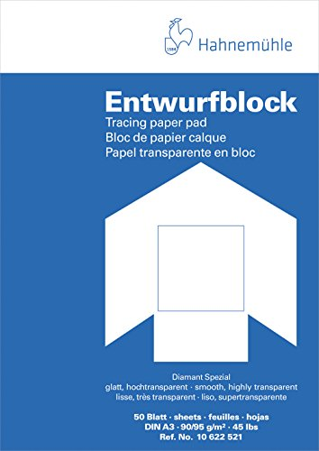 Hahnemühle 10622521 Transparentpapierblöcke, Skizzenpapierblöcke Transparentblock A3 90/95 g/qm