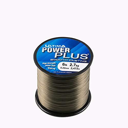 ultima Power Plus Ligne de Pêche Super Fort Naufrage-Bobine de 115gr pour Hommes, Vert Olive Foncé, 0.22mm-6.0lb/2.7kg