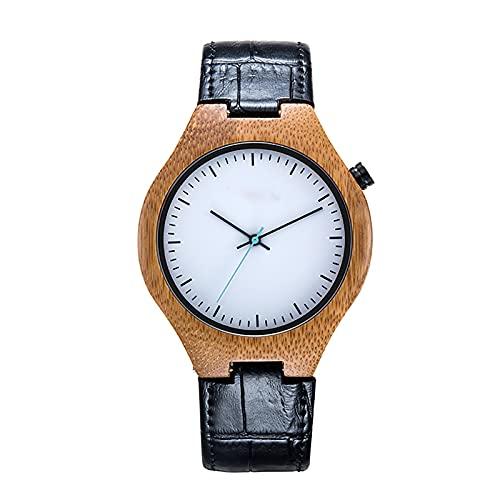 WTYU Relojes para Hombres, Estuche de Madera Reloj de muñeca de Moda Negocio Relojes Resistentes a Cuero Resistente al Ocio Relojes Deportivos para Hombres A