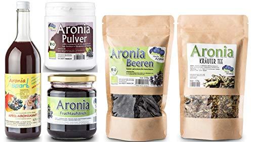 Aronia Apfelbeere Testpaket - Aroniabeeren - Aroniasaft - Aroniatee - Aronia Pulver - Aronia Fruchtaufstrich