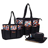 The Baby Co. 5 pieces Polka Dot Diaper bags set Waterproof and Multi-Function