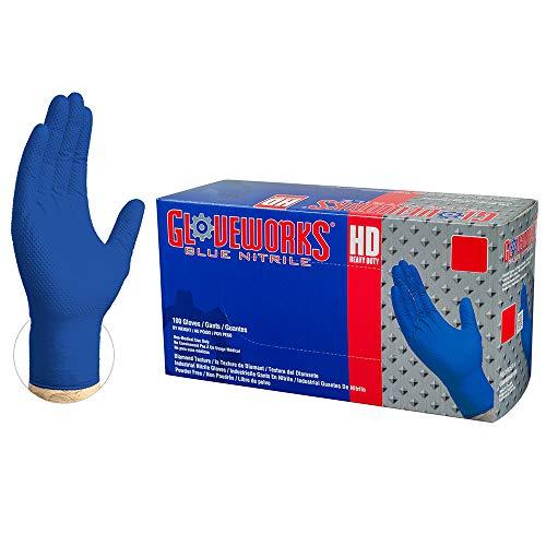 AMMEX GWRB44104E0BX Guantes desechables de nitrilo, azul real para uso intensivo GLOVEWORKS HD Grado industrial, Sin polvo, Sin látex, Mediano, 6 mil, Caja de 100