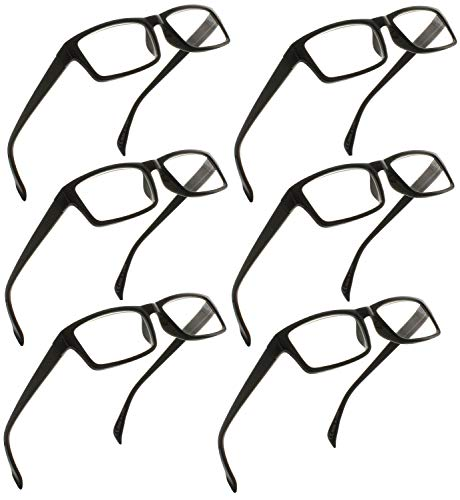 Reading Glasses 2.00 | 6 Pack Readers for Men and Women [6 Pack Black, 2.00]