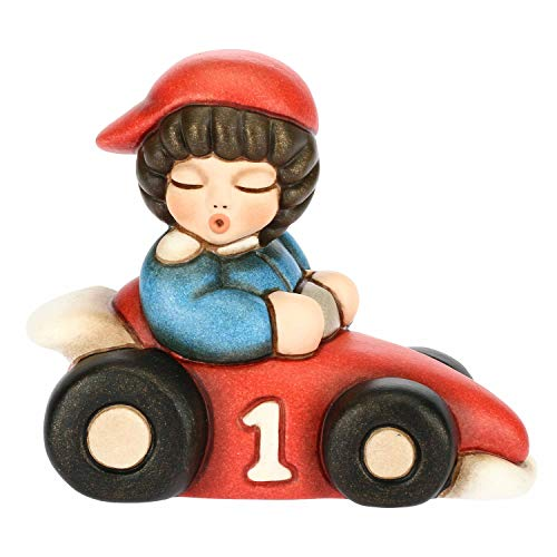 THUN - Bimbo su Macchina da Corsa - Idea per Bomboniera - Accessori Casa - Formato Piccolo - Ceramica - h 6,3 cm