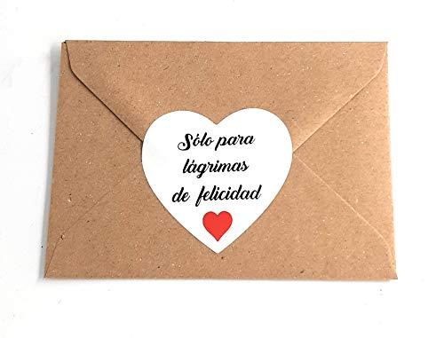 50 Sobrecitos kraft con etiqueta blanca para tu boda Sólo para lágrimas de felicidad en Español