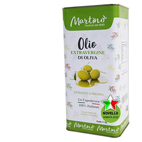 Frantoio Oleario Martino Alfonso - Olio Extra vergine di oliva 100% Italiano estratto a freddo (1 Lattina (5 L))