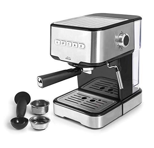 Lacor 69256 - Cafetera espresso con 2 salidas de café y función de calentar/espumar la leche, apta para café molido y cápsulas ESE, 21x265x30 cm