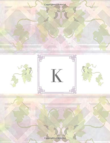 K: Monogram Notebook Initial Letter K Green Purple Leaf Garden Lattice Design