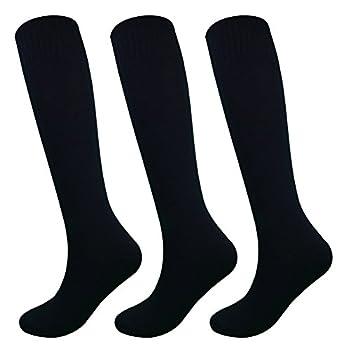 Fitliva Teen Juniors High Knee Athlete Long Tube Sports Socks  3Pack-Black