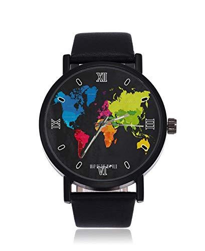 Reloj de pulsera de cuarzo para hombre, diseño de mapa del mundo colorido