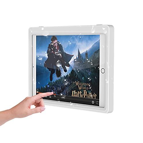 MoKo Soporte Impermeable para Tablet de Baño, Cuna con Rotación Libre de 360 Grados Táctil Antivaho, Adecuado para Tablet de Menos de 10.2', Compatible con iPad Galaxy - Blanco