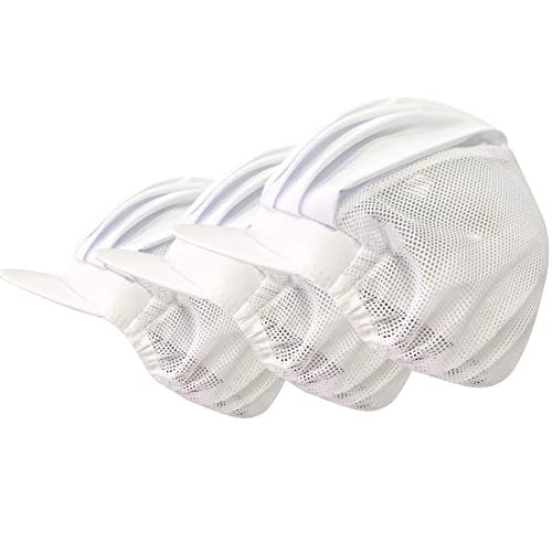 Cityelf Kochmütze, Unisex, verstellbar, Netzstoff, für Küche, Restaurant, Werkstatt, Schutzhut, Haarnetz, Kochen, Haarkontrolle, 3 Stück - Weiß - Einheitsgröße Passen Alle