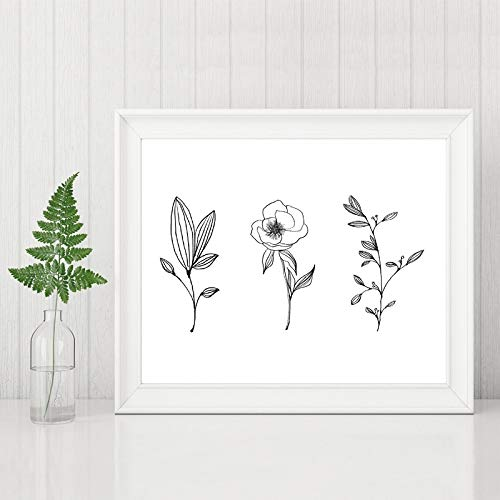 jiushice Botanical Print Minimalist Minimal Wandkunst Bleistift Blatt Zeichnungen Leinwand ng Kontur Pflanze Wand Poster Home Decoration 1 40X60 cm