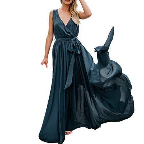 LeeMon Kleid Damen V-Ausschnitt Split Kleid? LeeMon Sexy Womens Holiday Sleeveless Damen Maxi Langes Sommer-Strandkleid mit Schlitz