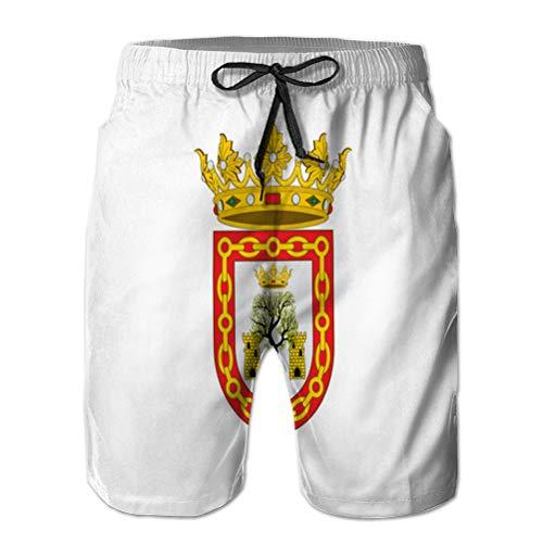LJKHas232 Boardshorts Estivi, Shorts da Uomo con Pocket Flag di olite in navarra in Spagna L