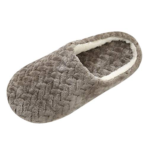 Aniywn Women's Comfort Fleece Memory Foam Slippers Fuzzy Plush Lining Slip-on Clog House Shoes for Indoor & Outdoor Use Coffee