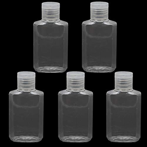 yanni Leere Handdesinfektionsmittelspender aus transparentem Kunststoff, Reisegröße, Klappdeckel, wiederverwendbar, tragbar, leer, 5 Stück