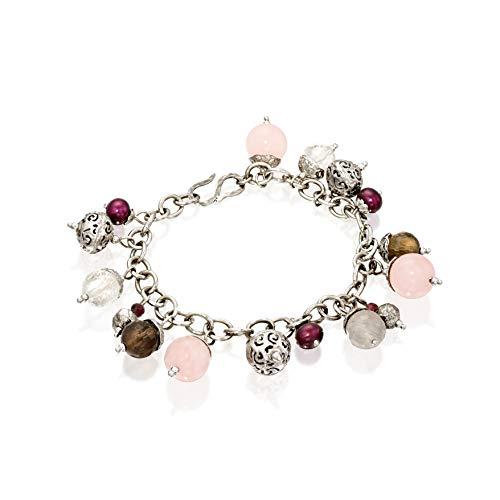PZ Paz Creations .925 Sterling Silver Multi Gemstone Charm Bracelet (8, jade)
