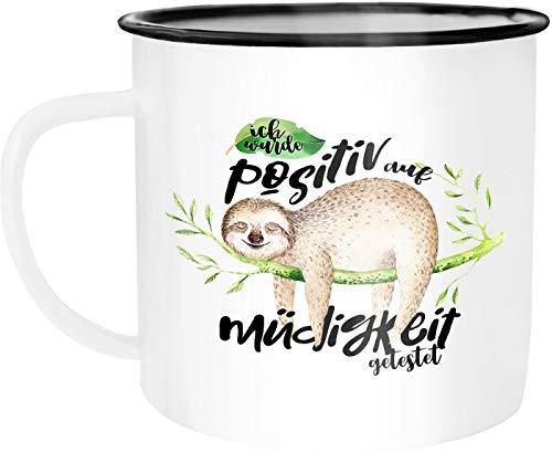 Moonworks Emaille Tasse Becher Faultier Ich wurde positiv auf Müde getestet Sloth Kaffeetasse weiß-schwarz unisize