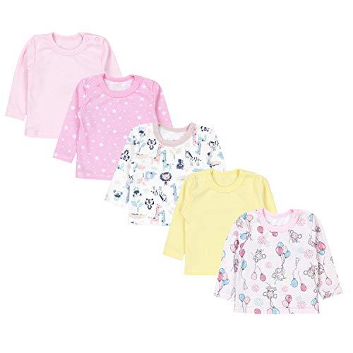 TupTam Baby Mädchen Langarmshirt Gestreift 5er Set, Farbe: Farbenmix 4, Größe: 56
