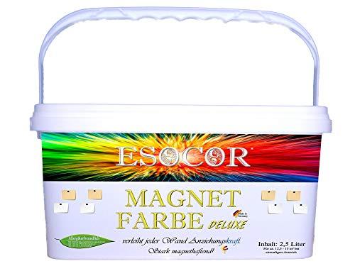 2,5 Liter ESOCOR MAGNETFARBE DELUXE + 2 Pin Magnete – sehr allergikerfreundlich – stark magnethaftend – Ideal für Innen- und Aussenflächen
