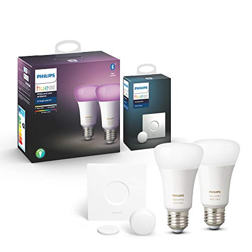 Philips Hue White & Color Ambiance E27 LED Lampe Doppelpack inkl. Hue Smart Button, dimmbar, 16 Mio. Farben, steuerbar via App, kompatibel mit Amazon Alexa (Echo, Echo Dot)
