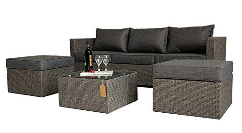 KLEE Polyrattan Lounge Set Stuttgart I für 3-5 Personen, 4er-Garnitur Gartenmöbel inkl. 1 Dreisitzer-Sofa, 2 Fußhocker, 1 Couchtisch mit Glasplatte, Aluminiumrahmen, Grau Fertigset, Fully Assembled