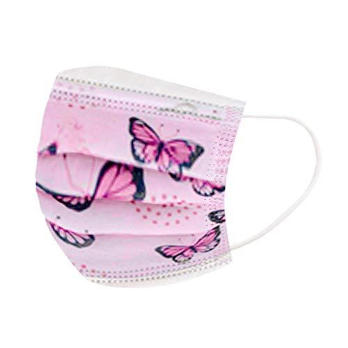 BIBOKAOKE Kinder Einmal-Mundschutz Schmetterlings Muster Print Multifunktionstuch Mund und Nasenschutz Schichtschutz Atmungsaktiver Face Halstuch Bandanas für Junge und Mädchen